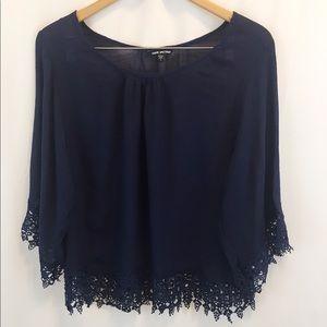 Women's Blue Top Crochet Detail at Hem/Sleeves L